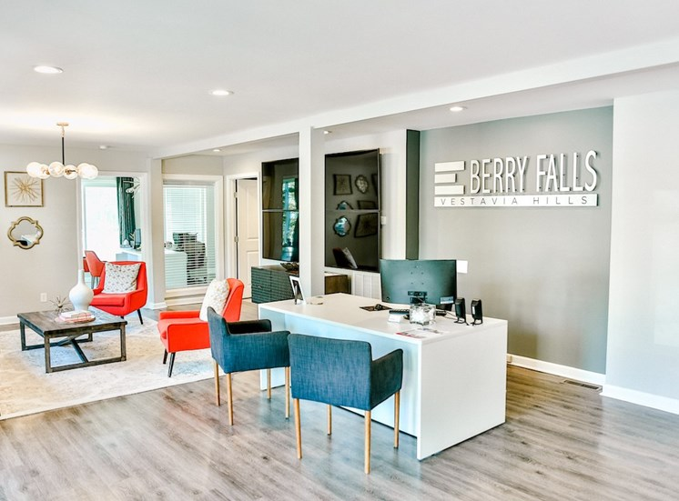 Berry Falls leasing center with leasing desks and lounge
