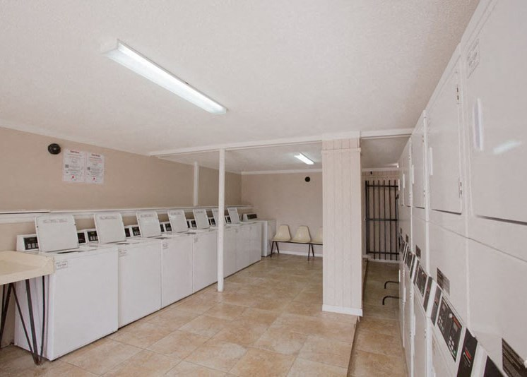 Residences at The Overlook laundry center with washers and dryers