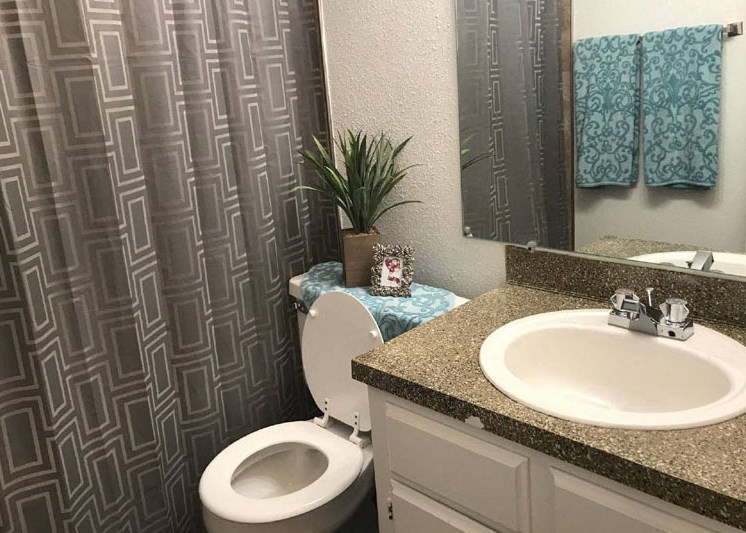bathroom with granite-inspired countertops