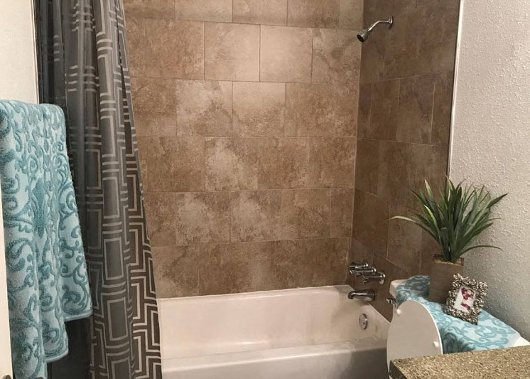 bathtub and shower with designer tile surround