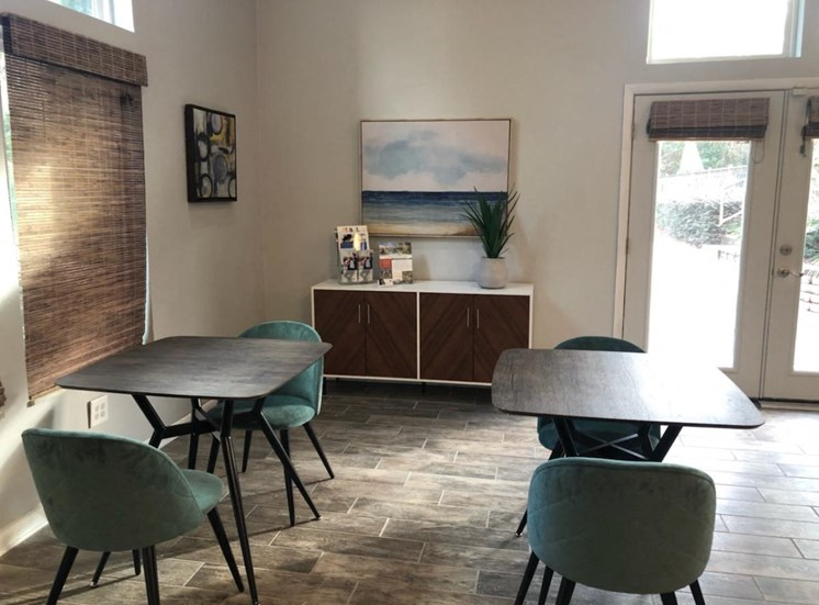 tables and chairs at aspen run clubhouse