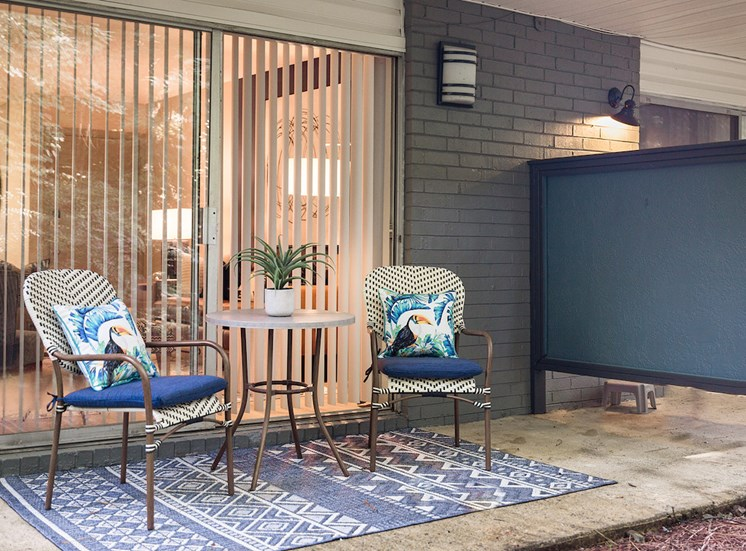 Large patio with furniture set and rug at The Jameson Apartments, Homewood, AL, 35209