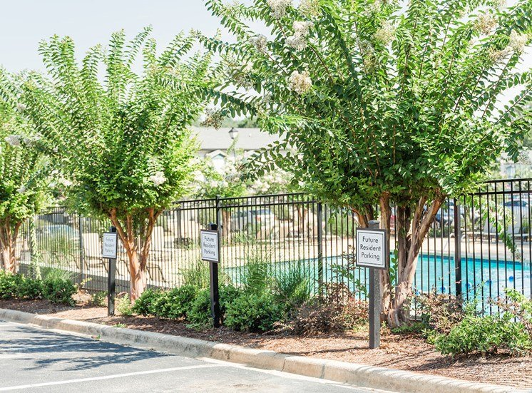 fenced in pool and sundeck with crepe myrtles and parking spaces at The Jameson Apartments, Homewood