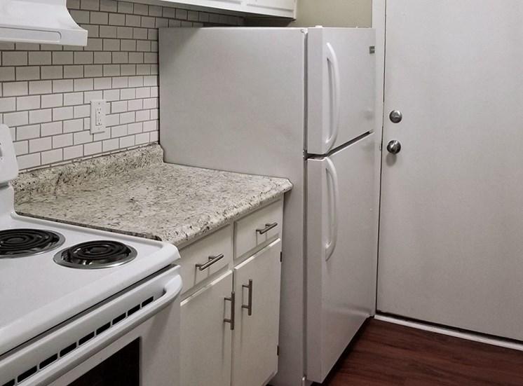 white oven and fridge in Aspen Run Kitchen