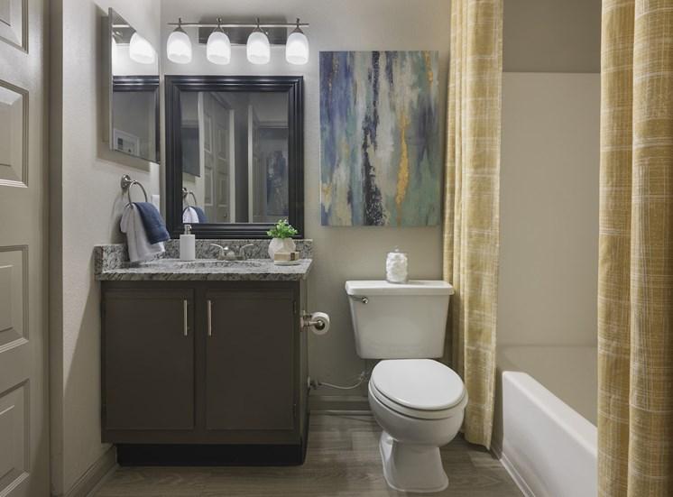Bathroom with tub, hardwood-floors, granite vanity and vanity lighting at The Retreat at Lakeland Apartments, Lakeland