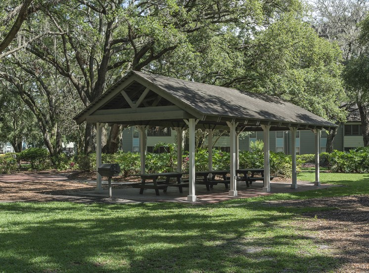 Covered picnic table area with grills in lush setting at The Retreat at Lakeland Apartments, Florida