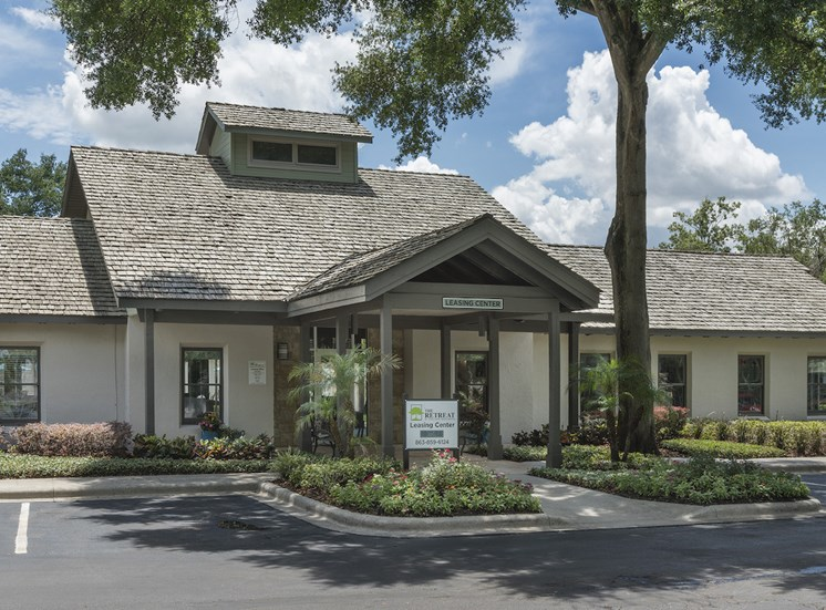 Clubhouse and leasing office entrance at The Retreat at Lakeland Apartments, Lakeland, 33809