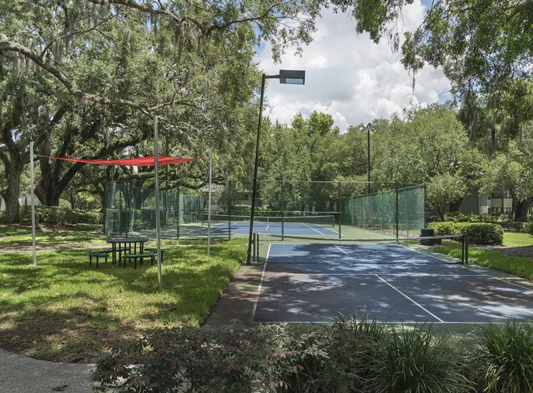 Tennis and Pickleball courts with picnic table with canopy at The Retreat at Lakeland Apartments, Florida