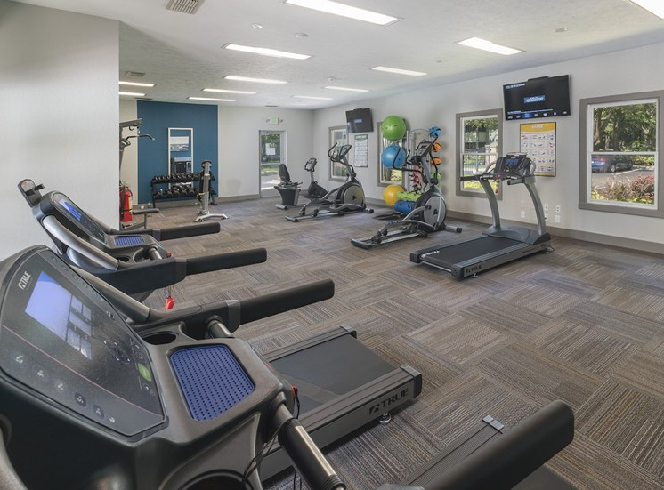 Treadmills and ellipticals and free-weights in the fitness center at The Retreat at Lakeland Apartments, Lakeland, FL