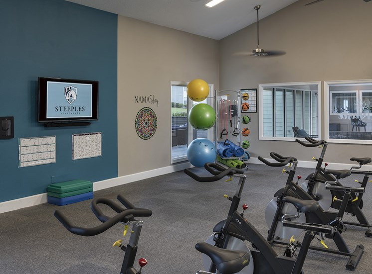 yoga studio with TV, spin bikes, and yoga and weight balls