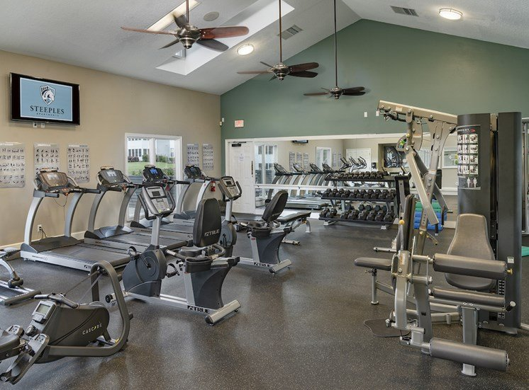 fitness center with cardio and strength equipment and free weights