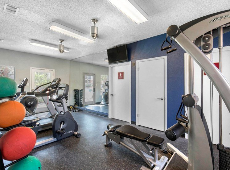 Fitness center with blue accent wall, medicine workout balls, and treadmills