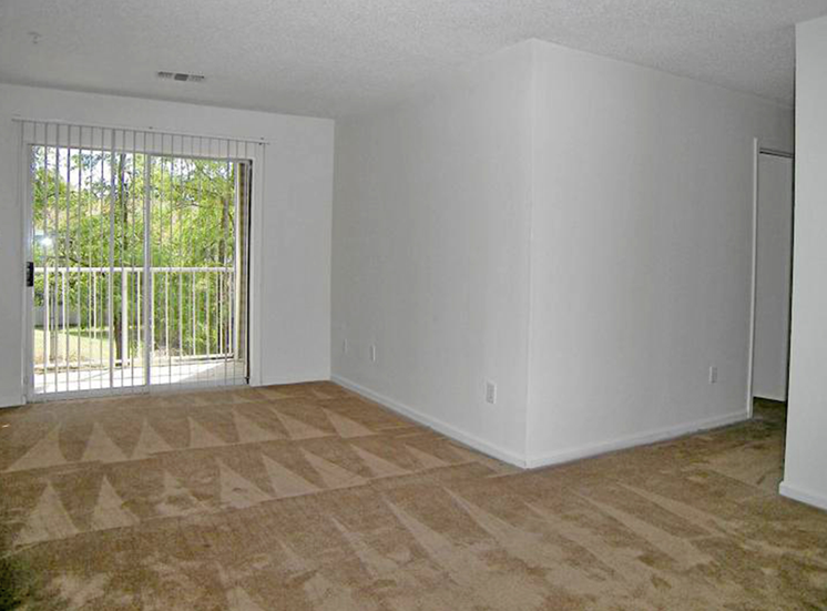 Carpeted Living Room with Sliding Door at Autumn Ridge Apartments, Memphis, Tennessee