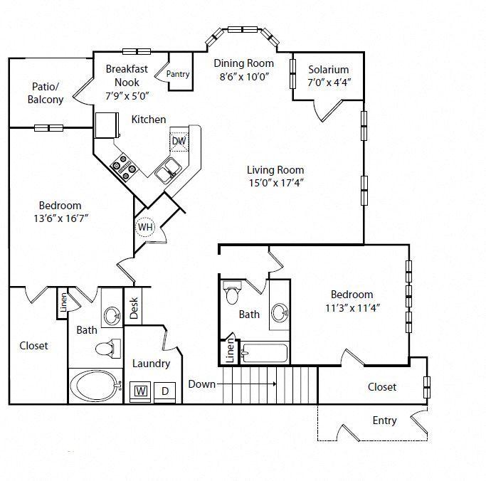 Two Bedroom Two Bathroom Floor Plan 1,448 Square Feet