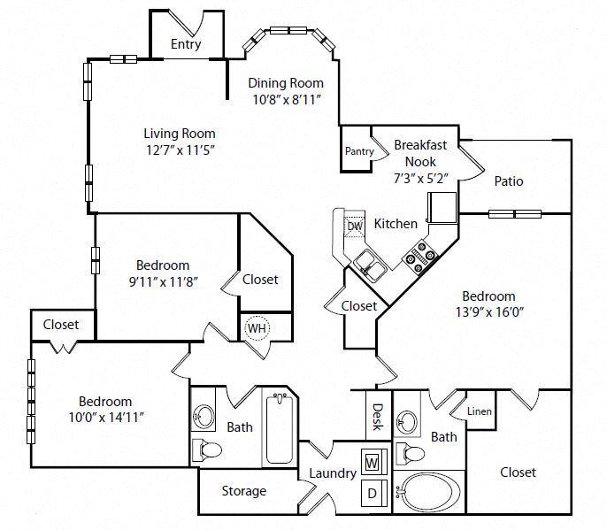 Three Bedroom Two Bathroom Floor Plan 1,509 Square Feet