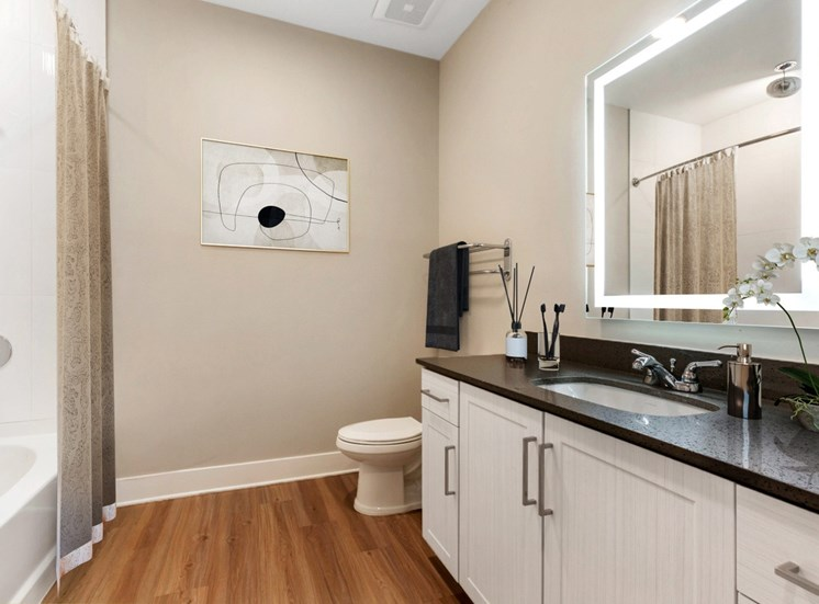Model Bathroom with Black Counters, Lit Mirror, White Cabinets and Decorations