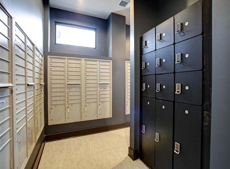 Indoor Mail Center with Window Above Lockers