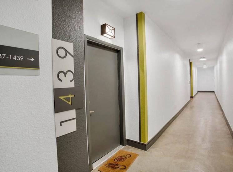 Interior Apartment Building Breezeway with Front Doors