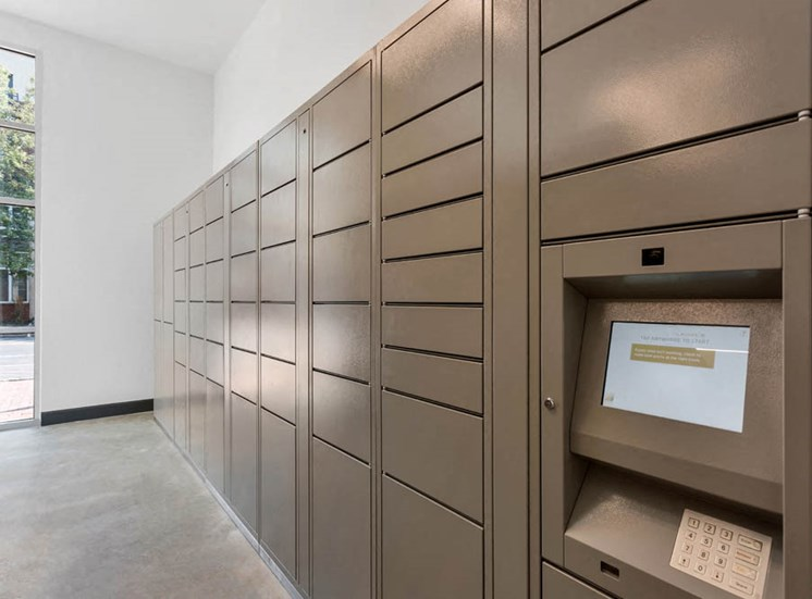 Mail Center with Electronic Package Lockers