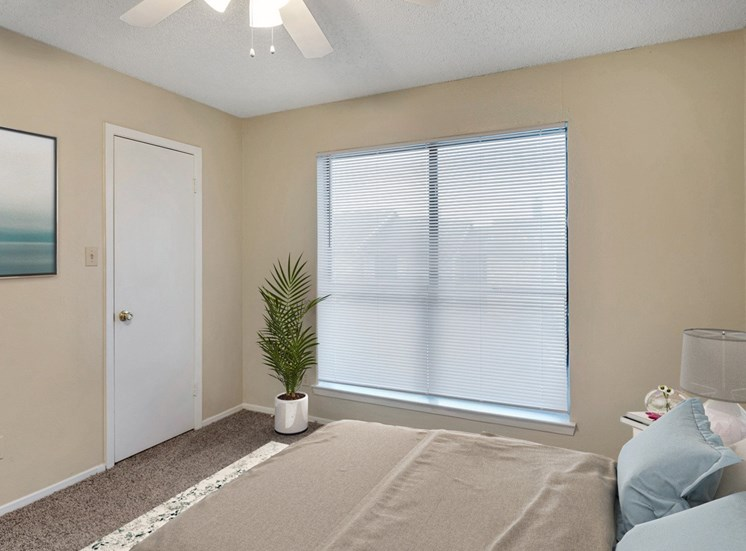 Apartment 406 bedroom featuring two-tone paint, plush carpet, large windows with window fixtures. This room is decorated with coastal blue accents, warm brown bedding with blue accent pillows, and a house plant in the corner.