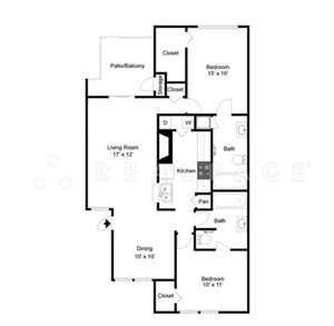 Two Bedroom Two Bath 1067 -1097  Square Feet