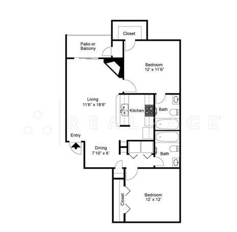 Two Bedroom Two Bath 894 Square Feet