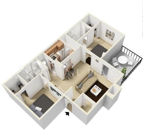 Two Bedroom Two Bath 936 Square Feet