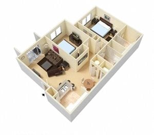 Two bedroom two bath floor plan