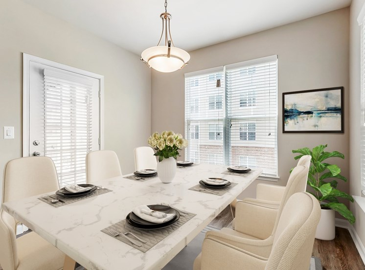 Virtual dining room table with chairs with large windows and door to outside