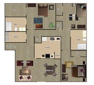 3 Bed 2 Bath Floor Plan