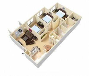 Three bedroom two bathroom floorplan