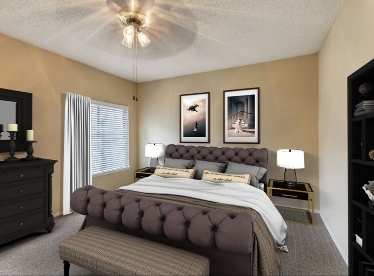 Furnished bedroom with ceiling fan, gray bedding, black dresser and bookshelf, and two framed photos above the bed