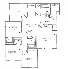 Four bedroom Two bathroom 1375 square foot floor plan