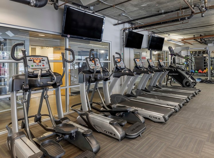 FITNESS CENTER WITH A ROW OF ELLIPTICAL MACHINES, TREADMILLS, STAIR CLIMBERS AND THREE FLAT SCREEN TVS