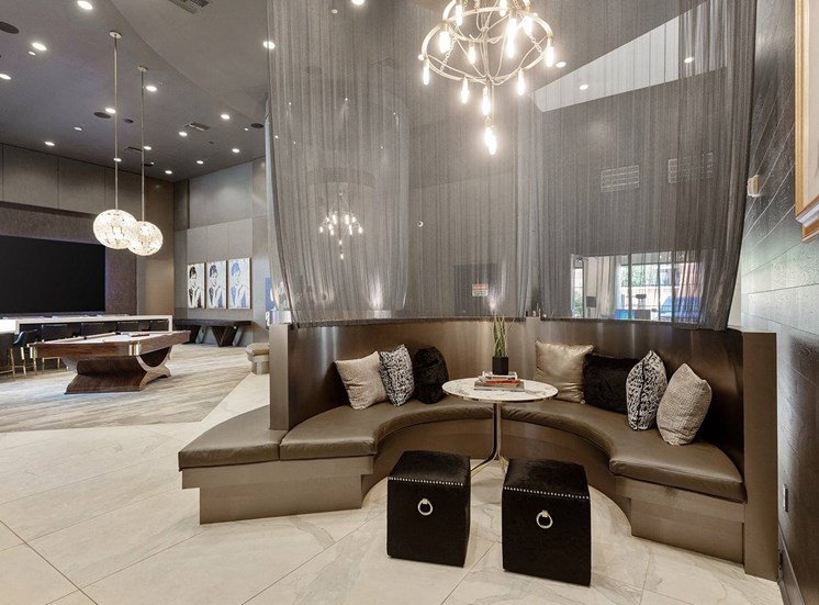 Resident lounge with Booth Seating, Billiards Table and Contemporary Decorations