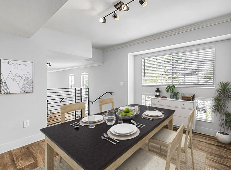 Dining Room with HArdwood Style Flooring, Windows and Virtuall Placed Table, Chairs, and Decorations