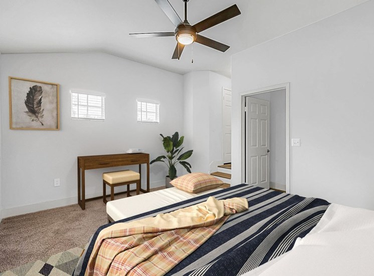 Carpeted Bedroom with Virtually Placed Bed, Desk and Decorations