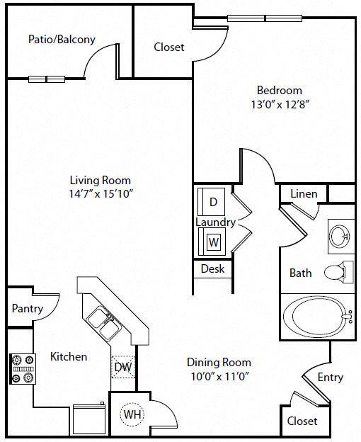 One Bedroom One Bathroom Floor Plan 880 sqft Floorplan