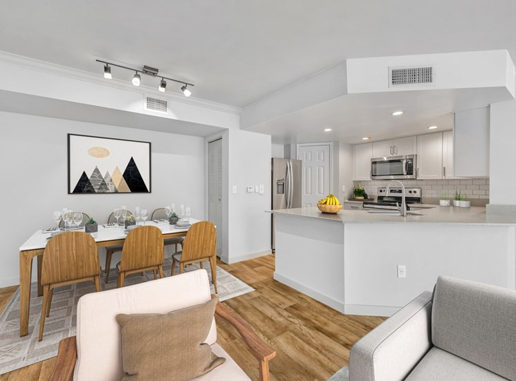 Open Floor Plan with Virtually Placed Dining Table with Chairs, Area Rug, and Decorations NExt to Kitchen with Grey Counters, White Cabinets and Stainless Steel Appliances