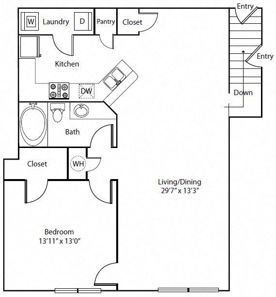 One Bedroom One Bathroom Floor Plan 987 Square Feet