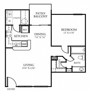 One Bedroom One Bathroom 678 Square Feet