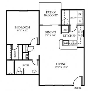 One Bedroom One Bathroom 691 Square Feet