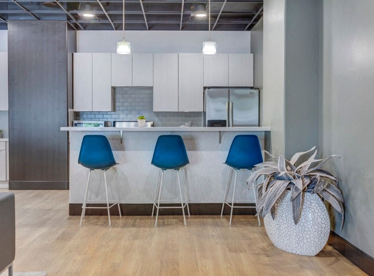 Clubhouse  Kitchen with Breakfast Bar with Contemporary Blue Bar Stools