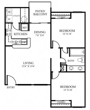 Two Bedroom One Bathroom  842 Square Feet