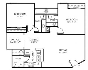 Two Bedroom Two Bathroom 972 Square Feet