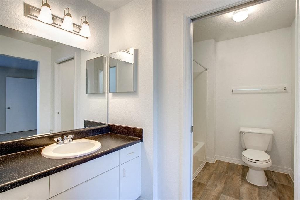 Bathroom with Separate Vanity with Black Counter and White Cabinet