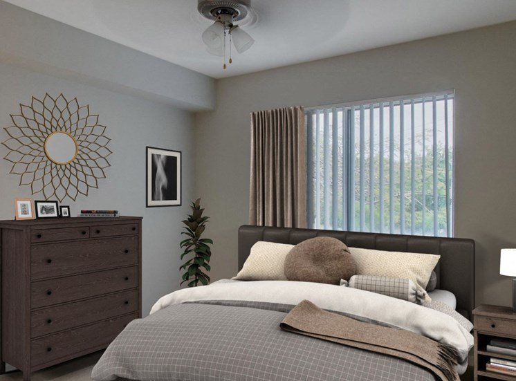 Virtual staged Master Bedroom with large bed, nightstand, dresser, large window and wall decor