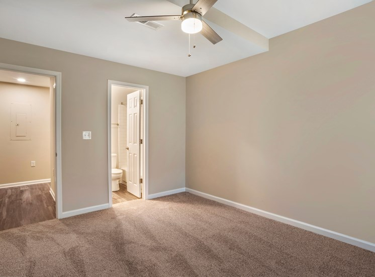 A vacant bedroom with gray walls, white trim, carpet throughout and a three blade ceiling fan. The bedroom has direct access to the bathroom and a door that opens to the hallway with hardwood style flooring.