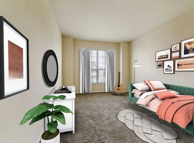 Virtually staged bedroom with carpet flooring, large window, floor lamp, day bed, dresser, curtains, wall mounted mirror and rug