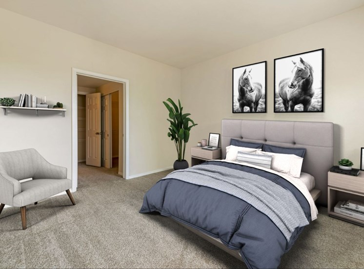 Virtually staged furnished bedroom with chair, floating shelve, wall art, bed, side table, and plant in the corner